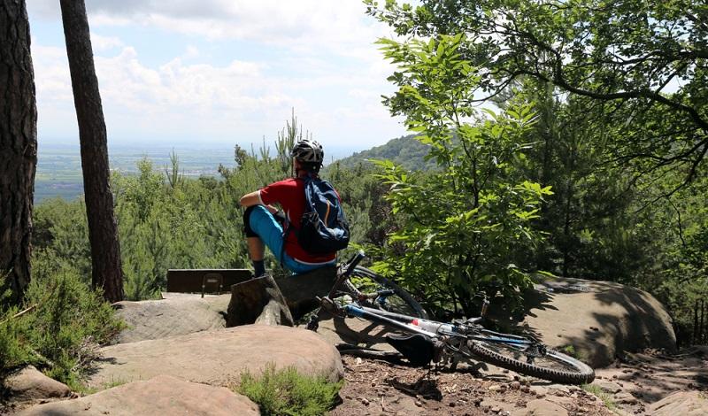 Die Belohnung einer Radtour durch das wilde Mittelgebirge der Vogesen ist der Fernblick in die Rheinebene. (#1)